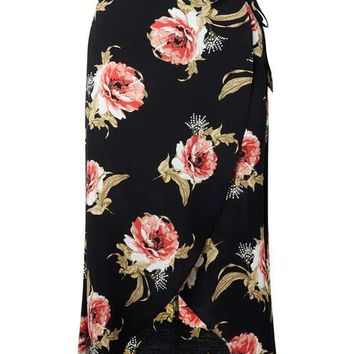 Black Floral Wrap Midi Skirt - View All - New In