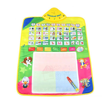 Russian Alphabet Play Mat Magic Pen Water Drawing Baby Musical Mat Toy Crawling Carpet Christmas Gift for Baby Child Toddler