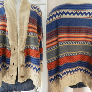 Beautiful Southwestern, Tribal Poncho/Kimono Sweater, Vintage One Size Clothing
