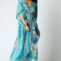 Kara V Neck Paisley Print Maxi Kaftan Dress