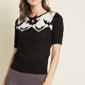 Hell Bunny Four O'Clock Rockabilly Sweater in Bats