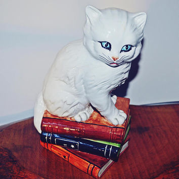 Large Ceramic Cat, Made In Italy, Cat On Books Figurine, White Ceramic Cat