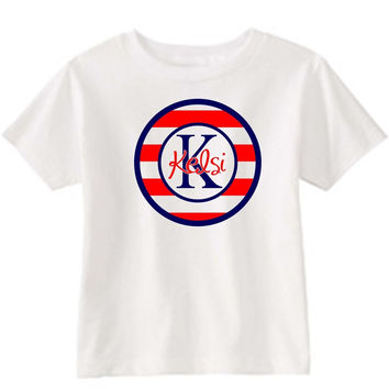 Red Stripe Blue Initial on Personalized White T-Shirt