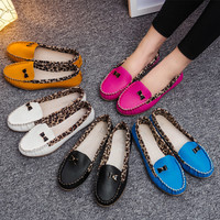Leopard Patchwork Tods Casual Korean Soft Flat Shoes [8865369100]