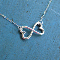 Infinity Heart Necklace Sterling Silver Two Hearts Connected to Infinity and Beyond Best Friends Sisters gift Bridesmaid gifts