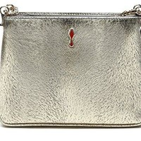 Wiberlux Christian Louboutin Women's Real Leather Studded Trio Bag With Chain Strap