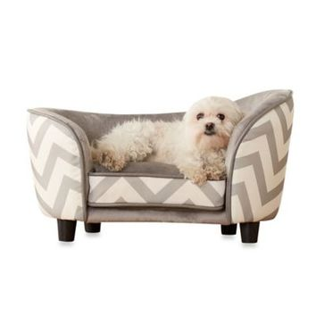 Enchanted Home Pet Chevron Snug Dog Bed in Grey