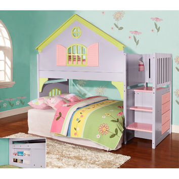 dCOR design Donco Kids Twin Doll House Loft Bed with Staircase