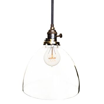 "8"" Clear Blown Glass Oil Rubbed Bronze Pendant Light"