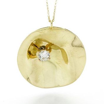 IPPOLITA Classico Wavy Disc Necklace with Diamond in 18k Yellow Gold 18""