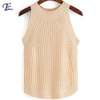Ladies Spring Apricot/White Casual Tops 2016 New Arrival Fashion Women High Street Latest Round Neck Slim Sweater Tank