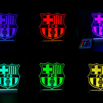 FC Barcelona soccer led lamp sign 16 color includes,  Barcelona Night Light , Gadget for men,  Lighting decor