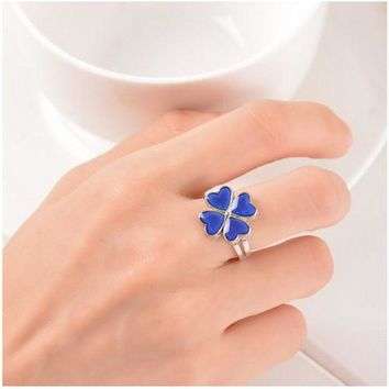 ESBONHS Clover Ring Mood Color Change Ring Temperature Mood Rings for Women Men Fine Jewelry present party for girlfriend Guest
