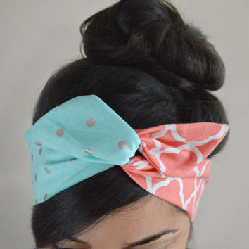 Coral Tiffany Dolly Bow head band