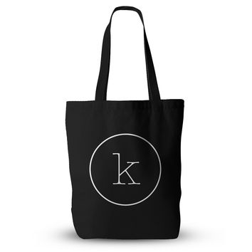 "KESS Original ""Simple Black Monogram"" Everything Tote Bag"