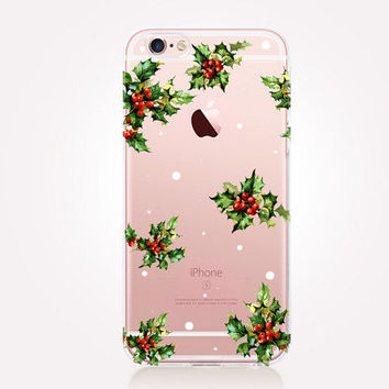 Transparent Mistletoe Phone Case - Transparent Case - Clear Case - Transparent iPhone 6 - Samsung S7 - Soft TPU - Gel Case - iPhone SE