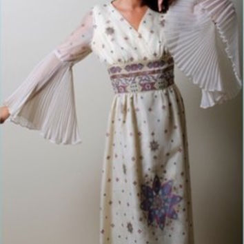 Alfred Shaheen Vintage 60 S 70 S Bohemian Maxi Dress Gown