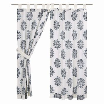 Mariposa Indigo Short Panel Curtains