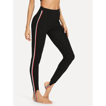Contrast Striped Side Stirrup Leggings