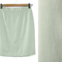 Vintage Mint Green Skirt~Size Extra Small~Waist 25~60s High Waisted Pencil Short Pastel Skirt~By United Colors of Benetton