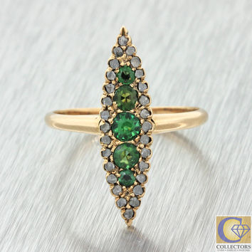 1880s Antique Victorian 14k Solid Gold .66ctw Emerald Diamond Navette Ring