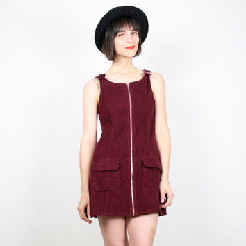 Vintage 90s Dress Grunge Dress Micro Mini Dress Burgundy Wine Oxblood Red Corduroy Jumper Dress Overalls Dress 1990s Dress XS S Extra Small