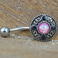 Tribal Pink Opal Belly Button Ring