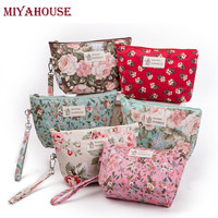 Miyahouse  Women Portable Zipper Cosmetic Bag Fashion Floral Printing Makeup Bag Cosmetics Pouches Ladies Travel Toiletry Bags