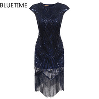 BLUETIME Great Gatsby Dress Women Tassel Sequined Blue Party Dresses Ladies Summer Sexy Bodycon 1920s Retro Vintage Sundress 30A