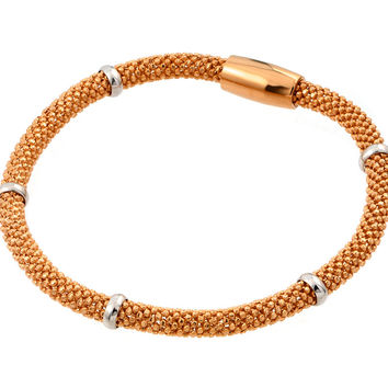 .925 Sterling Silver Rose Gold Plated Thin Beaded Italian Bracelet: SOD