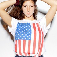 Screen Printed Unisex Power Washed Tee-US Flag Vertical | Novelty T-Shirts | New & Now's Women | American Apparel