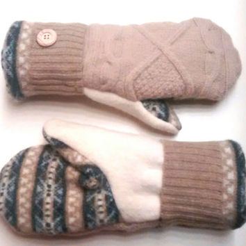 Caramel and Cream, Etsy mittens, recycled sweaters, women's mittens, fleece lined mittens, felted wool mittens, etsy sweater mittens