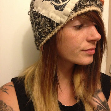 Crust punk Knit Beanie Hat with Flowers and Anarchy Anti Fascism Dead Kennedys Patches