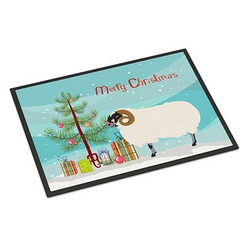 Scottish Blackface Sheep Christmas Indoor or Outdoor Mat 24x36 BB9340JMAT