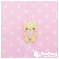 Pastel ice-cream bear (yellow) Necklace sold by Moon Bunny