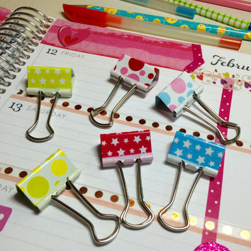 Cute Multicolor Pattern Binder Clips