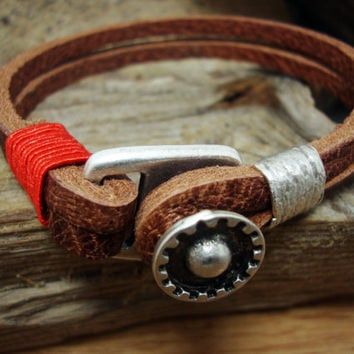 FREE SHIPPING -  Men's Bracelet, Men Leather Bracelet. Men Bracelet, Men's Leather Bracelet. Brown and Red yarn Bracelet.
