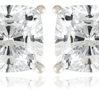 Platinum-Plated Sterling Silver Cushion-Cut Cubic Zirconia Stud Earrings