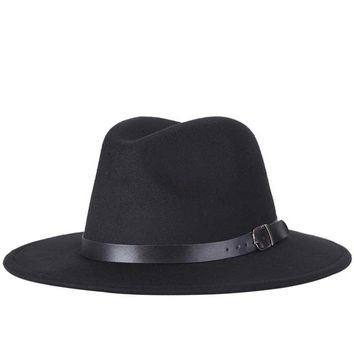 2017 free shipping 2017 new Fashion men fedoras women's fashion jazz hat summer spring black woolen blend cap outdoor casual hat