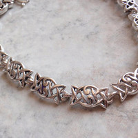 Sterling Silver Celtic Link Bracelet Trinity 7.25 Inches Vintage AT0008