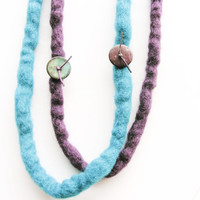 Turquoise and Purple Felt Necklace, Fiber Long Necklace, Handmade Felt Wool Jewelry, Gift for her, Under 50, Eco-friendly Fiber Jewelry