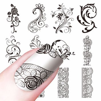 FWC NEW Arrival Water Decals Transfer Stickers Nail Art Stickers Charm DIY Lace Flower Designs Fashion Accessories