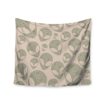 """Alias """"Abducting The Flowers"""" Pink Green Wall Tapestry"""