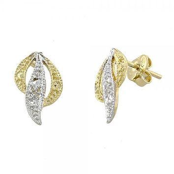 Gold Layered 02.55.0001 Stud Earring, Matte Finish, Two Tone