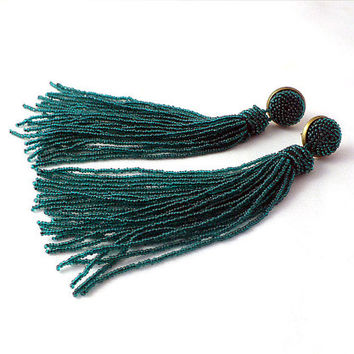 Beaded long tassel earrings -clip on earrings in emerald green- statement seed beads earrings- dangle earrings - beadwork