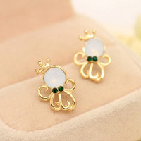 Korean style cute animal earrings opal Crown octopus rose gold palted stud earrings for women = 1669056772