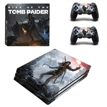 HOMEREALLY PS4 Pro Skin Classic TOMB RAIDER PVC HD Sticker For Playstation 4 Pro Console and Controller Skin PS4 Pro Accessory