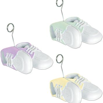 Baby Shower Favors Baby Shoes Photo/Balloon Holders - 12 Units