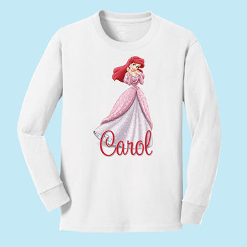 Disney's Ariel in pink dress personalized long sleeve T shirts