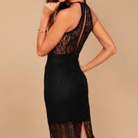 Kiss Me at Midnight Black Lace Halter Bodycon Midi Dress